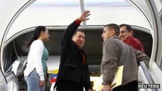 Venezuelan President Hugo Chavez on his way to Cuba on 24 February 2012