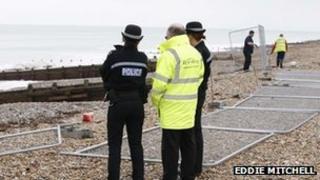 Emergency teams at Worthing beach (Pic: Eddie Mitchell)