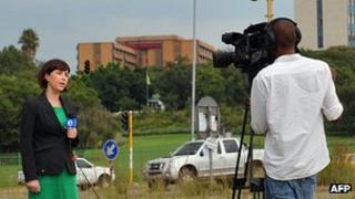 TV crew outside hospital in Pretoria