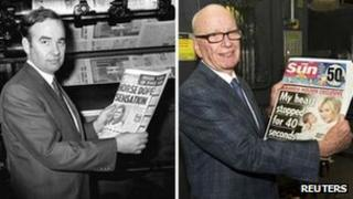 Rupert Murdoch holding copies of the Sun in 1969 and the Sunday version's launch in 2012