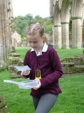 A schoolgirl at Rievaulx Abbey, North Yorkshire