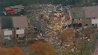 Aerial shot of blast scene