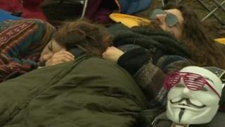 Sleeping protesters