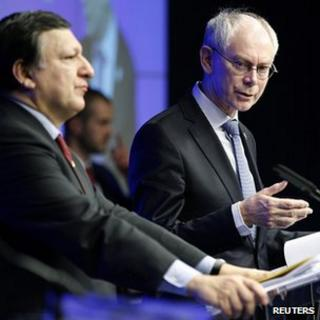 EU Commission President Jose Manuel Barroso and European Council President Herman Van Rompuy, 30 Jan 12
