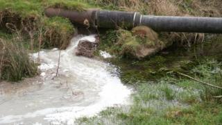 Sewage spill on River Gwenfro at Southsea, Wrexham