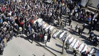 Mass funeral in Homs, 26 Feb 2012