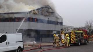 A burning building at Rackheath industrial estate