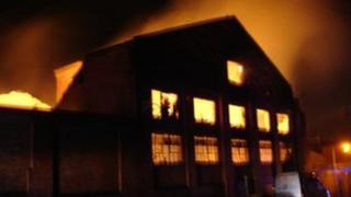 A fire at the Old Norville Works in Gloucester