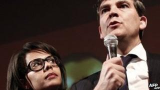 Audrey Pulvar with Arnaud Montebourg at a function in Paris, 9 October 2011