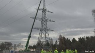 New electricity tower. Pic: BBC Alba
