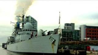 HMS Liverpool back in Liverpool