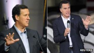 Rick Santorum and Mitt Romney campaigning on 29 February 2012