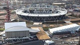 Aerial view of the London Olympic Village showing numerous Games venues