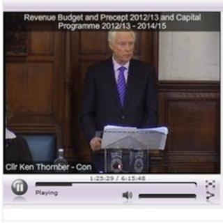Council leader Ken Thornber in webcast