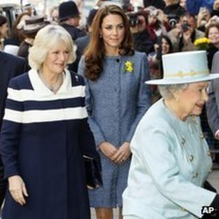 Queen Elizabeth II, Camilla, Duchess of Cornwall and Kate