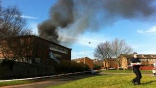 Furniture store on fire in Rotherham