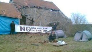 Campaigners at abandoned farm at Hinkley Point