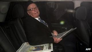 Rupert Murdoch leaving his London home on 17 February, 2012