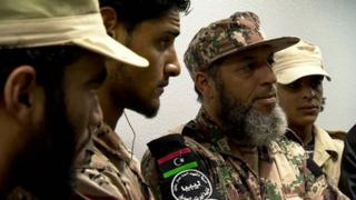 Zintan militia commanders at Tripoli airport (man with beard is Abdelhakkim Sheibi)