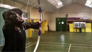 Ambar Rachad, 16, practising archery