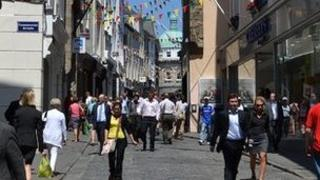 Shoppers in St Peter Port