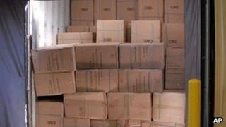 Seized counterfeit goods at Port Newark-Elizabeth Marine Terminal
