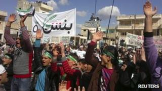 Demonstration against President Assad in Binsh, near Idlib, 2 march
