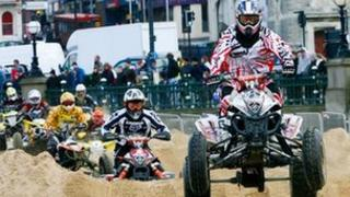 Quad bike racers on the beach at Margate