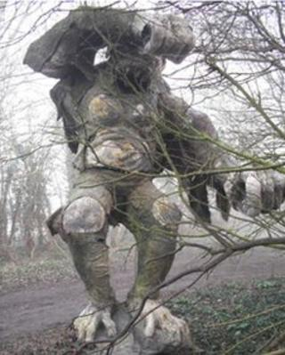 12ft metal gorilla dumped on bridleway near Ely