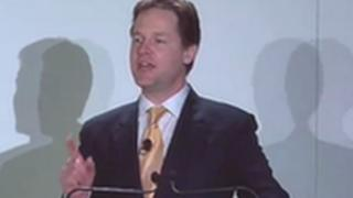 Nick Clegg at the Lib Dem conference in Cardiff