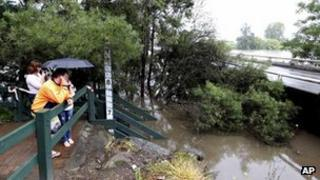Rising floodwater in the Sydney suburb of Windsor after the flood gate of the Warragamba Dam were opened in Sydney, Australia, 3 March, 2012