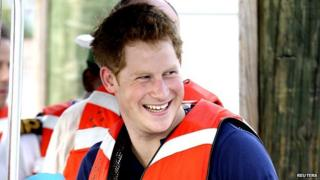 Prince Harry in a lifejacket