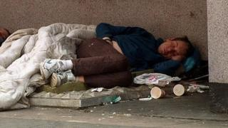 A man sleeping rough in London