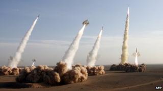 Iran's Revolutionary Guards fire Shahab-2 missiles (2 November 2006)