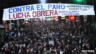 Anti-austerity protest in Bilbao, 25 Feb 12