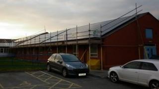 Solar panels at Ilkeston Community Hospital