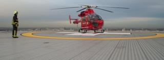 London's Air Ambulance is based during the day on top of the new premises of the Royal London Hospital