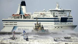 Ferry in stormy seas