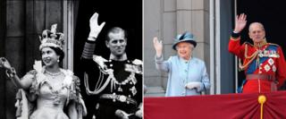Queen Elizabeth II and the Duke of Edniburgh on the balcony of Buckingham Palace