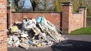 Rubble left in front of the entrance to a farm in Borrowash
