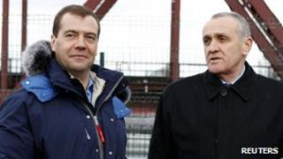 "Russia's President Dmitry Medvedev (L) meets Alexander Ankvab, President of Georgia""s breakaway region Abkhazia"