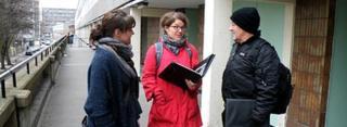 Zara, Kathleen and Mark, three of the organisers working in Walworth, South London