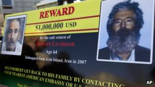 FBI poster showing two photos of Robert Levinson Washington DC 6 March 2012
