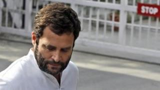 Congress party leader Rahul Gandhi looks down as he speaks to the media in New Delhi, India, Tuesday, March 6, 2012.
