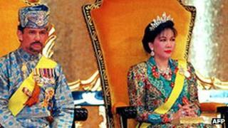 File photo of the Sultan of Brunei and his former wife Mariam Aziz