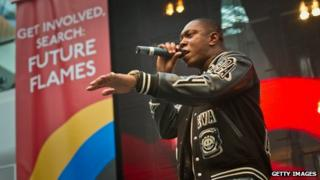 Dizzee Rascal performing at a Future Flames event