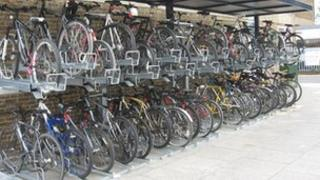 Bicycle storage at a railway station