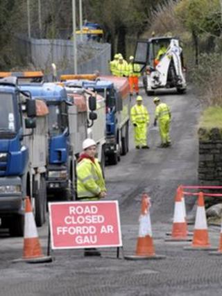 Road repair work in Penrhiwceibr