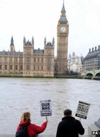 NHS protesters opposite Parliament