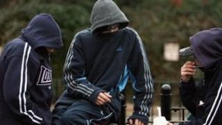 Hooded teenagers